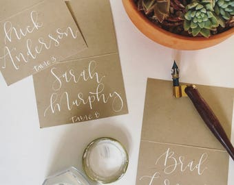 White Custom Handwritten Calligraphy Place Cards/Escort Cards