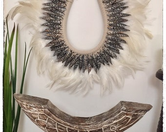 Coastal Feather & Shell Necklace Wall Hanging