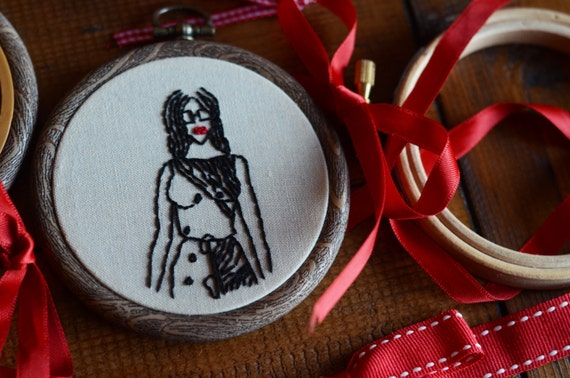 "Woman fashion embroidery hoop art in 3"" hoop. Home decor; embroidered art; female figure"