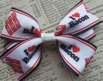 Bacon Hair Bow, hair accessories, kawaii hair bows, bacon party favors