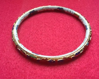 Cloisonne Hinged Bangle Bracelet Gold Floral