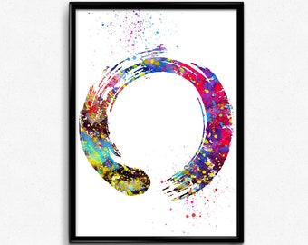 Japanese Zen Symbol, Buddhism, Colorful Watercolor, Poster, Room Decor, gift, Printable Wall Art (560)