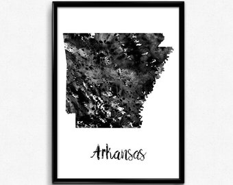Map of Arkansas, United States of America, Black and White Map, Travel, Watercolor, Room Decor, Poster, gift, Print, Wall Art (728)