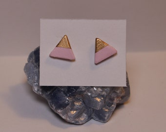 Handmade Pastel Pink and Gold Triangle Earrings