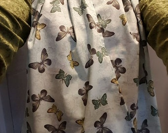 Dining Scarf Adult Bib   Butterflies In Gold And Gray On This Lovely Scarf  For Eating