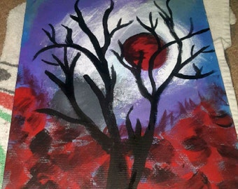 Blood Moon and Tree original Painting 11X14