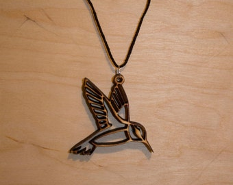 Wooden Hummingbird Necklace