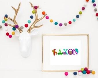 Animal Alphabet Name Print, Personalized Name Print, Nursery Decor, Children's Bedroom Decor, Boys Bedroom Decor, Girls Bedroom Decor
