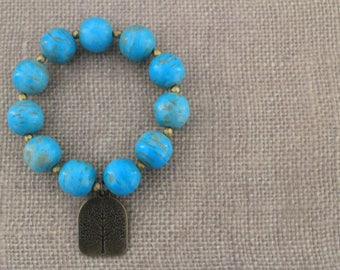 Bead Bracelet / Turquoise Bracelet / Charm Bracelet / Tree of Life Charm Bracelet