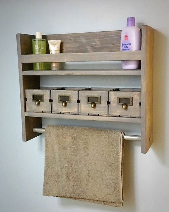 bathroom shelf with towel bar rustic shelf. Black Bedroom Furniture Sets. Home Design Ideas