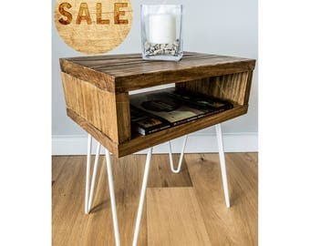 Rustic Solid Wood Side Table with 2 Prong 30cm Metal Hairpin Legs
