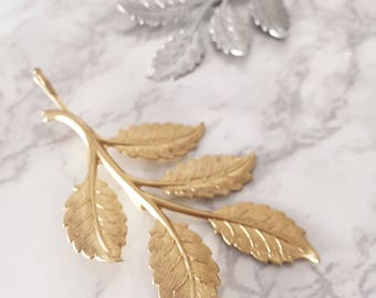 Gold Rose Branch Rustic Woodland Large Hair Pin | Boho Bridal & Bridesmaid Nature Inspired Branch and Leaf Wedding Hair Accessories