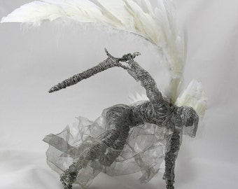 Wire angel sculpture. Unique item