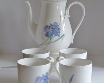 Bone China Coffee Pot and Mug Set/Christopher Stuart Coffee Pot with matching mugs/ Blue Iris Y1519 floral/Southern Serving