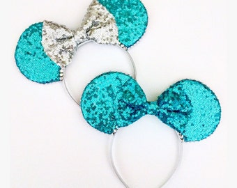 The Full Sequin (Aqua) - Disney Frozen Inspired Mouse Ears Headband