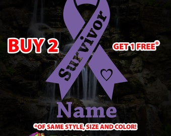 Cancer Survivor Ribbon Vinyl Decal Sticker with FREE Name, Cancer Ribbon Decal Survivor Sticker, Car Laptop Decal Sticker