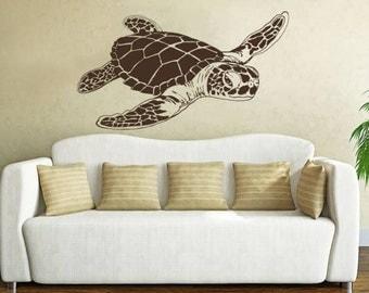 Sea Turtle Wall Decal Animals Ocean Nautical Decor Vinyl Sticker Decals Bathroom Nursery Home Bedroom Dorm Interior NV105