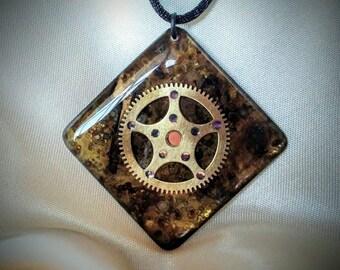 Steampunk Pendant / Necklace / Authentic Antique Clock Gear Pendant / Patina Gear Pendant / Steampunk Jewelry