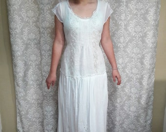 Simple wedding dress etsy for Simple cotton wedding dress