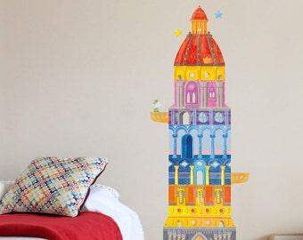 Wall Decal Kids, Kids Wall Stickers, Fabric Wall Decal, Nursery Wall Decor, Tower Wall Decal, Tower Nursery Decal, Tower Wall Sticker