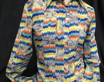 70's psychedelic rainbow polyester disco lapel shirt small