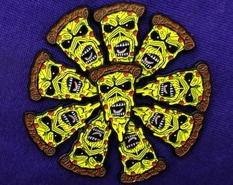 PizzaEddie Soft Enamel Pin, Iron Maiden Eddie the Head Pizza Mashup