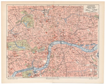 1905 Original London map, an original antique print from 1905, a lithography presenting antique map of London.