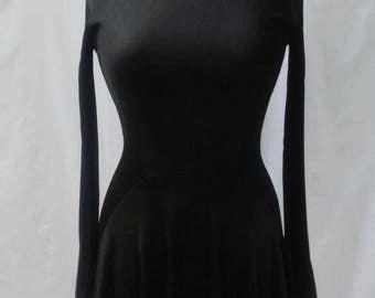 AZZEDINE ALAIA vintage 90s long sleeve black dress LBD