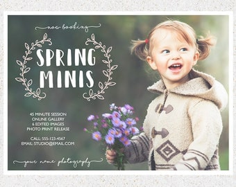 INSTANT DOWNLOAD--5x7 Spring Photography Mini Sessions Marketing Board--Photoshop Template--sm111