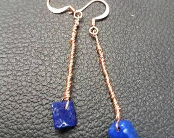 Customizable Earrings, Twisted Copper Lapis Lazuli Earrings