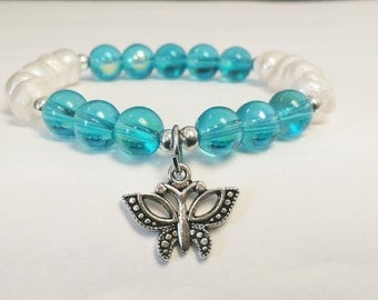 butterfly jewelry, gift for mom, gift for wife, mothers day, pearl bracelet, blue bracelet, woman's bracelet, popular gift,
