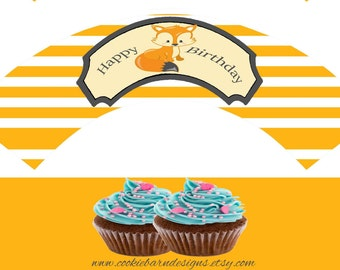 Woodland Cupcake Wrappers, Woodland Printable Cupcake Wrap, Woodland Cupcake Birthday Decoration, Instant Download, DIY