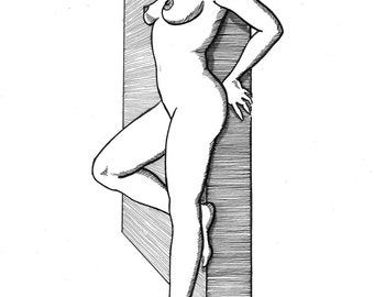 Against the Wall - By Nysus - erotic art limited edition reproduction