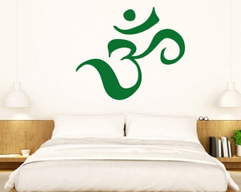 Aum Wall Sticker Om Hindu Decal Yoga Buddhism Vinyl Meditation Stencil Art Gift