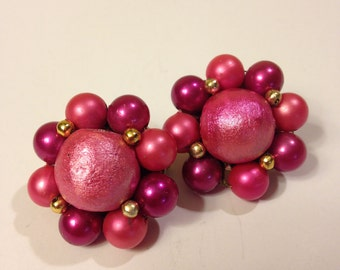 1950's Gold Tone Multi Pink Cluster Clip Back Earrings Signed Japan