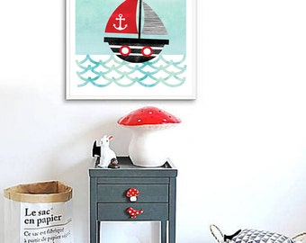 Sailboat Print, Nautical Nursery Decor, Baby Boy Nursery Wall Art, Pirate Ship Print, Aqua Baby Room Art Print Find Adventure Nursery Poster