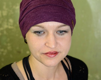 thin CAP, chemo Cap size 56 to 58, blended fabric, violet / purple, from 7streich, one of a kind
