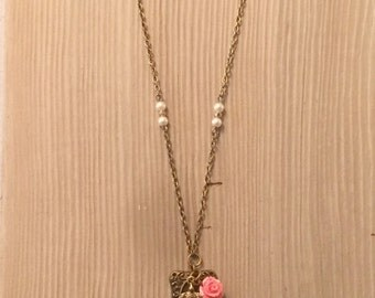 Antique Gold Lock Pendant with Sparrow, Rose and Pearl Accents