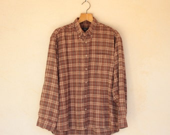 Vintage Brown Checked Long Sleeved Flannel Shirt - Size Extra Large