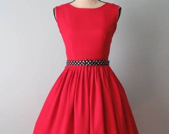 Vintage 50s Cherry Red Full Skirt Dress