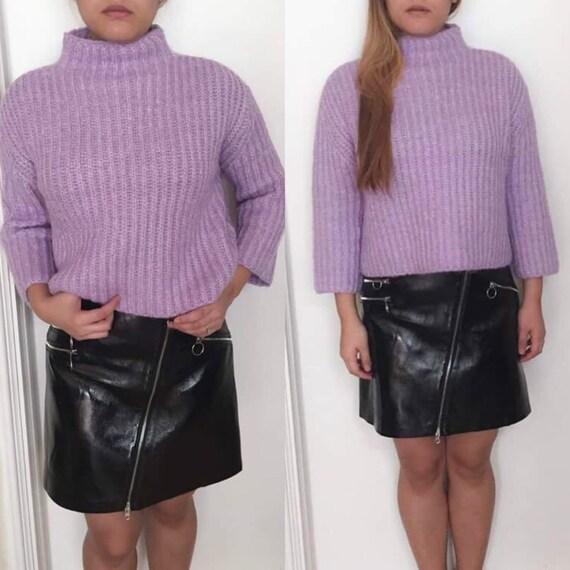 Violet Purple Turtleneck Sweater Pullover/ Lavender Sweater/