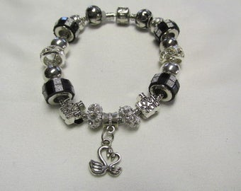 Authentic Pandora Bracelet, Crystal, Black and Silver. non branded beads #733