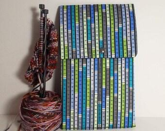 "Ruler Print 10"" Knitting Needle Case"