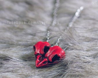 Raven love - two crows heart shaped pendant necklace