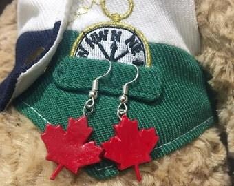 Canada Maple Leaf Flag Icon Earrings, canada day