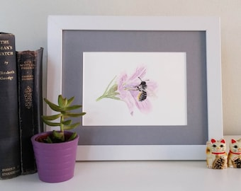 Leafcutter bee original watercolour painting 5x7 British wildlife unique gift