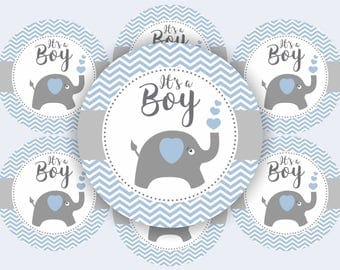 Elephant Baby Shower Cupcake Toppers - Elephant Baby Shower Decorations Boys - Printable Chevron Elephant Cupcake Toppers - It's a Boy!
