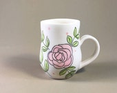 porcelain teacup, handmade pottery mug, hand made coffee cup, hand painted design, floral, rose pattern, mother's day, teacher gift, bride