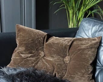 Brown Velvet Cushion with Buttons