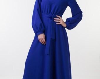 Modest royal blue dress Mother of the bride dress Mother of the groom dress Modest dress Tznius dress Tznius clothing Long dress long sleeve